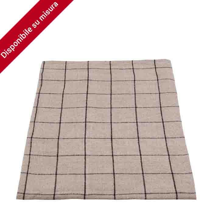 100%linen checked tablecloth natural/black color 110 x 110 cm