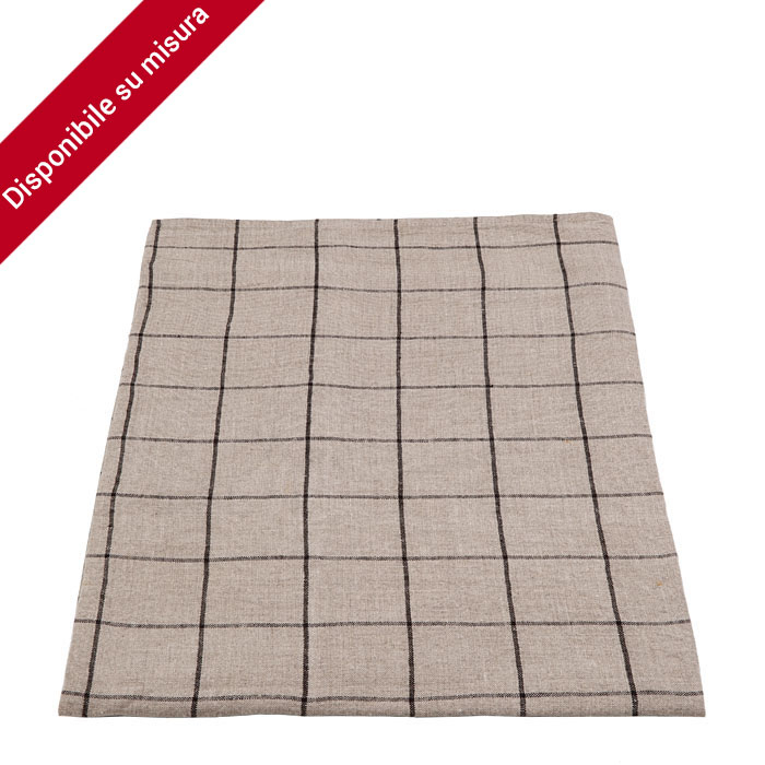 100%linen checked tablecloth natural/black color 80 x 142 cm