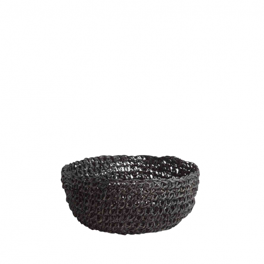 Black abaca crochet bowl d12 h5 cm