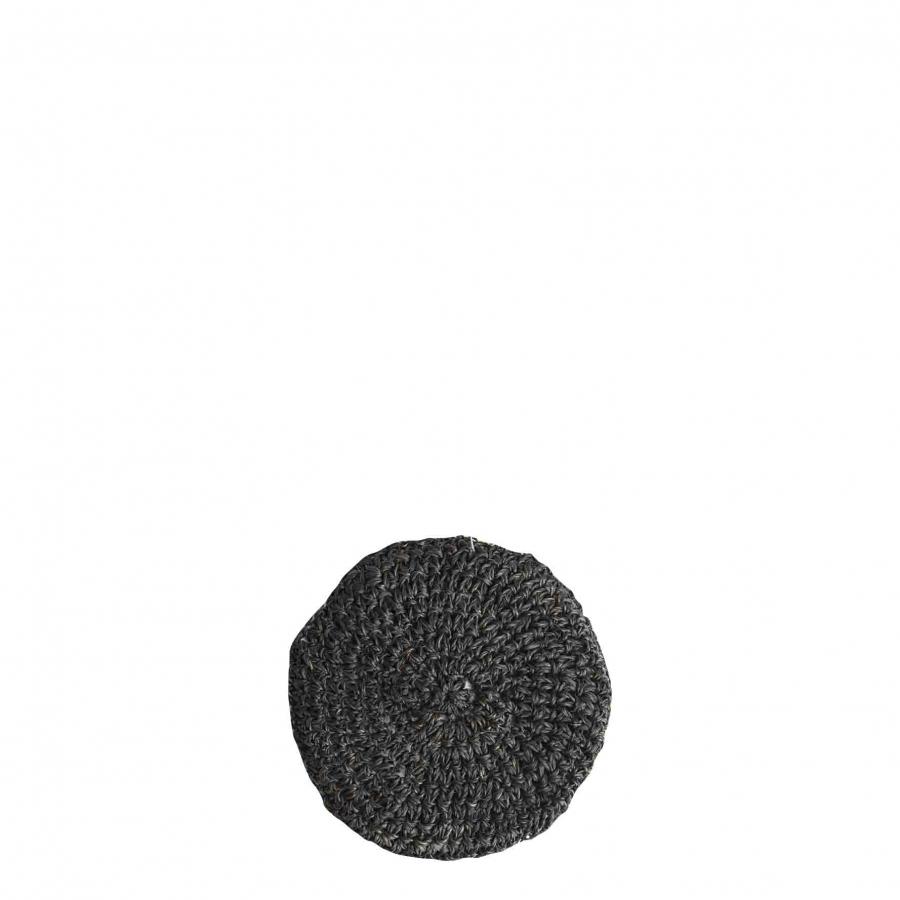 Sous-verre en crochet d'abaca coul. noire d11 cm