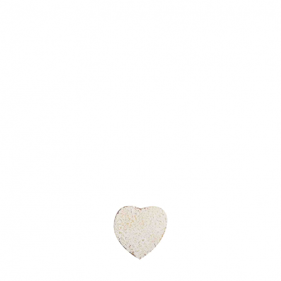White/rusty metal heart h4 cm