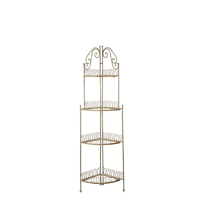 Angular grey inlaid iron etagere with 4 shelves h153 cm
