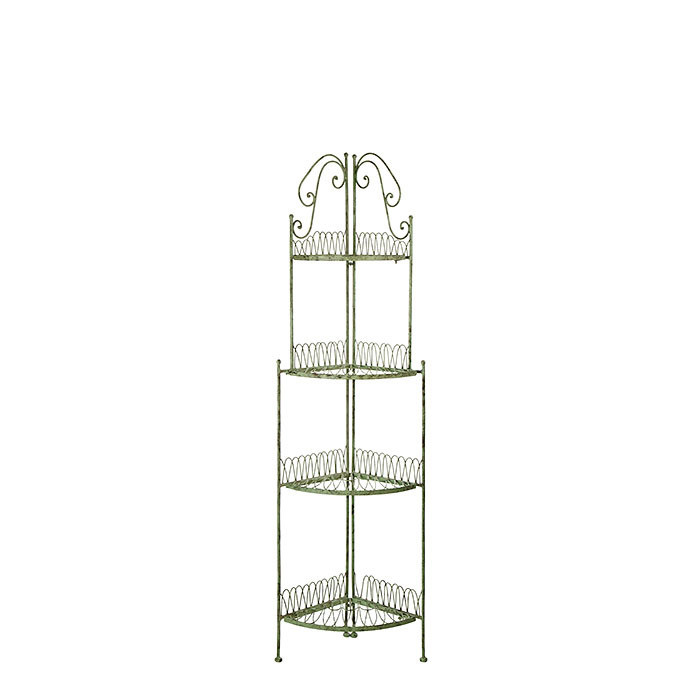 Angular green inlaid iron etagere with 4 shelves h153 cm