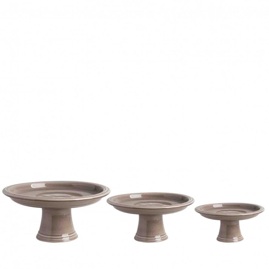 Set di 3 alzate ceramica tortora