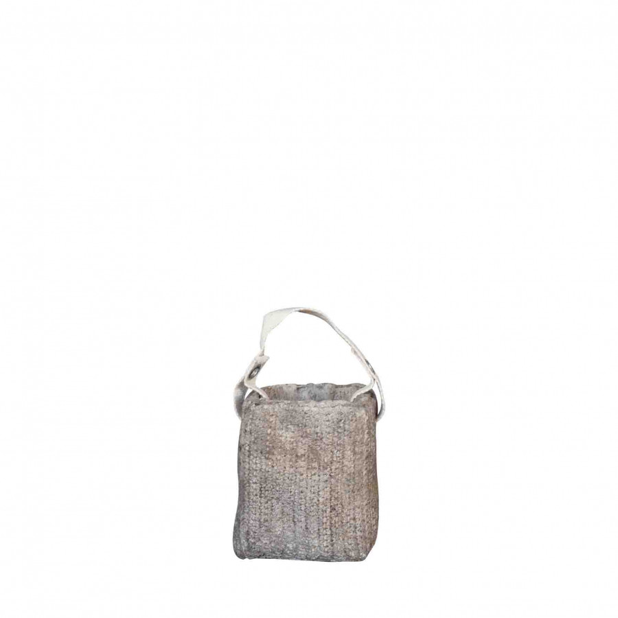 Vaso con manico fettuccia cotone colore crema 12 x 12 h14 cm