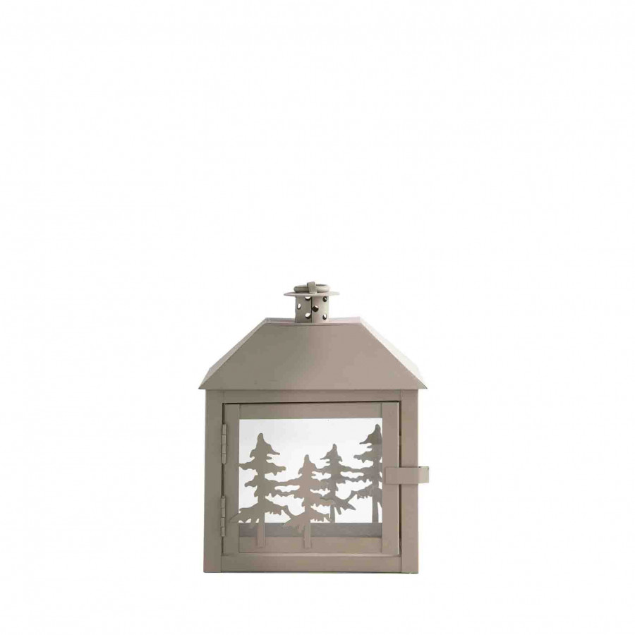 Grey tin lantern with decoration of pines