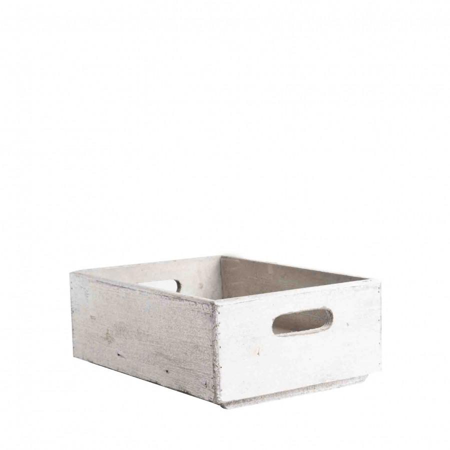 Caisse empilable en bois gris 28 x 38 h13 cm