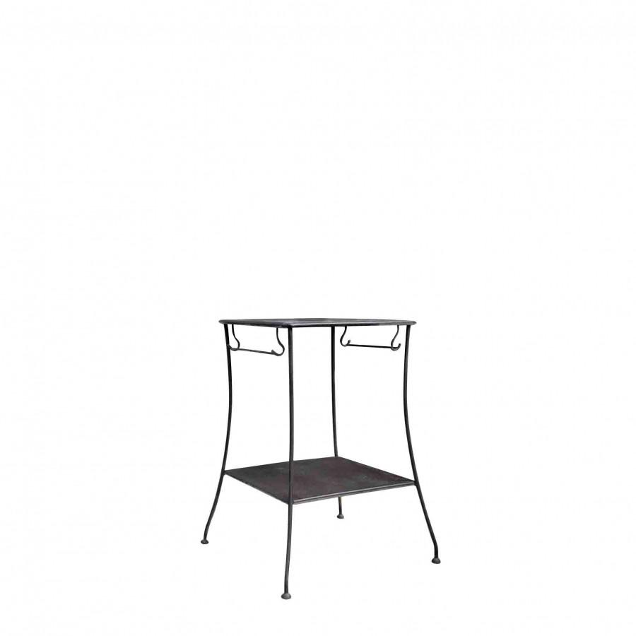 Tavolo 2 piani ferro nero porta salviette 46 x 46 h76 cm