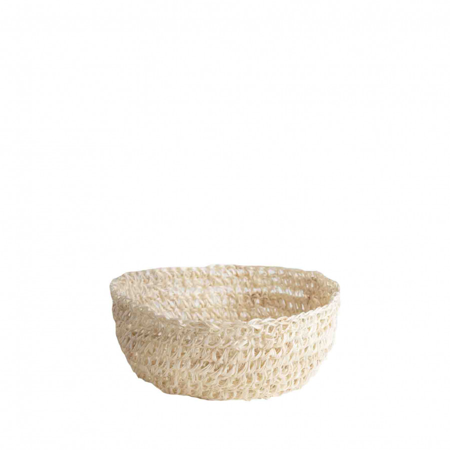 Ciotola trama uncinetto in abaca bianco d12 h5 cm