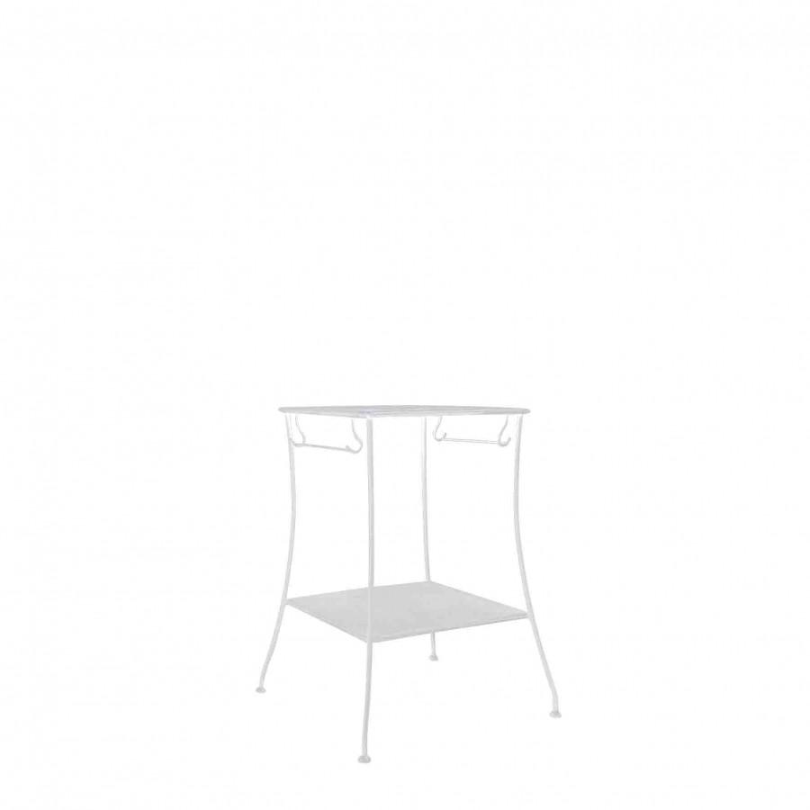 Tavolo 2 piani ferro bianco porta salviette 46 x 46 h76 cm