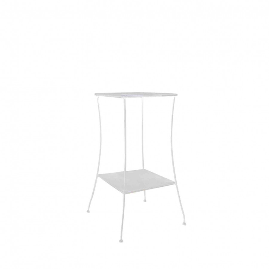 White iron table with 2 shelves 46x46 h95 cm