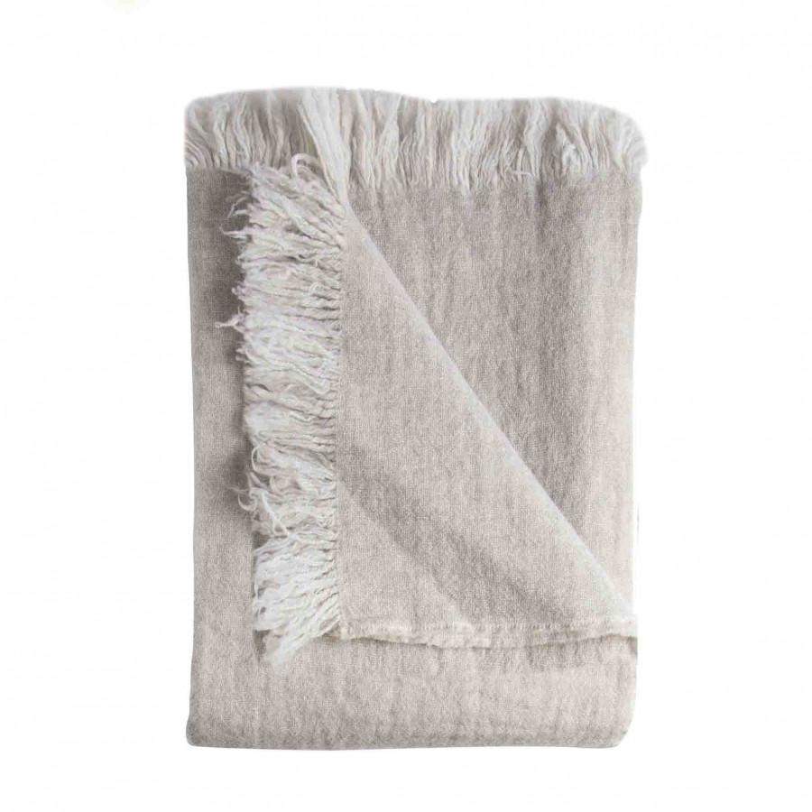 100%light grey virgin wool blanket with fringes 280g/m2 130 x 180 cm