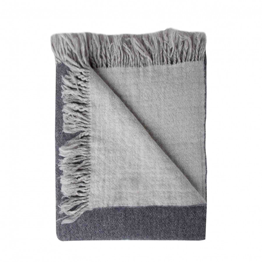 100%dark denim virgin wool blanket with fringes 280g/m2 130 x 180 cm