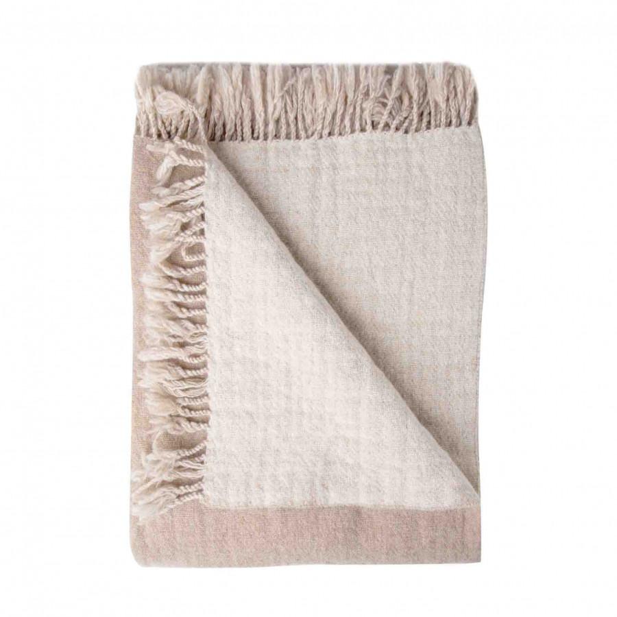 100% brown/cream virgin wool blanket with fringes 280g/m2 130 x 180 cm