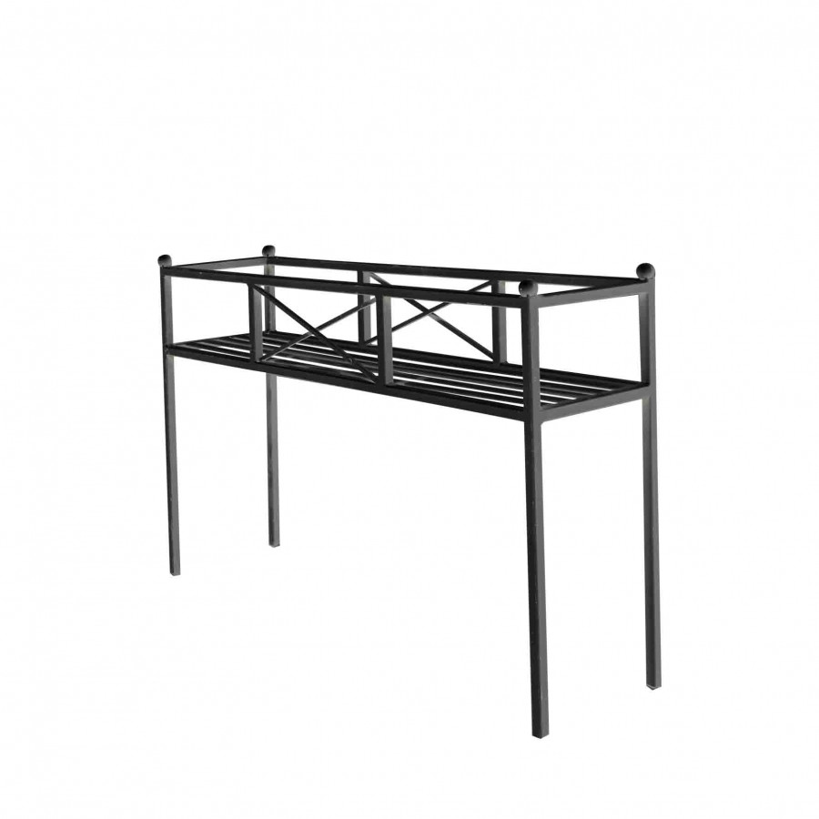 Fioriera lineare ferro nera 28 x 115 h73 cm