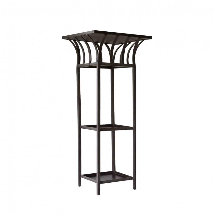 Jardiniere noire avec 3 etageres 45x45xh105 cm