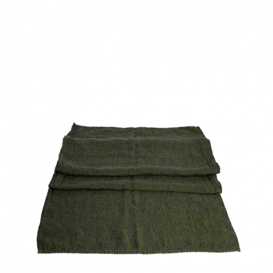 100% linen green runner 50 x 120 cm