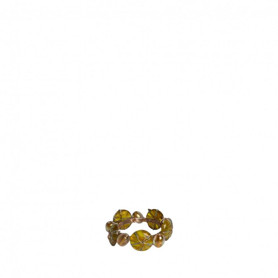 Anneau de serviette avec perles ambre