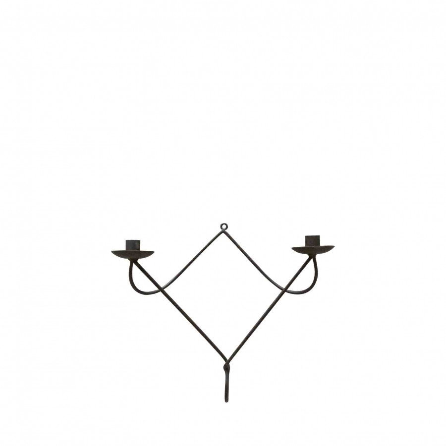 Candelabro attorcigliato 2 candele ferro nero 38 cm