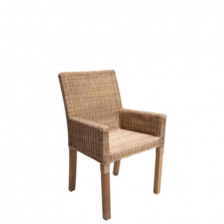Chaise dining en osier avec bras 45x56 h87 cm
