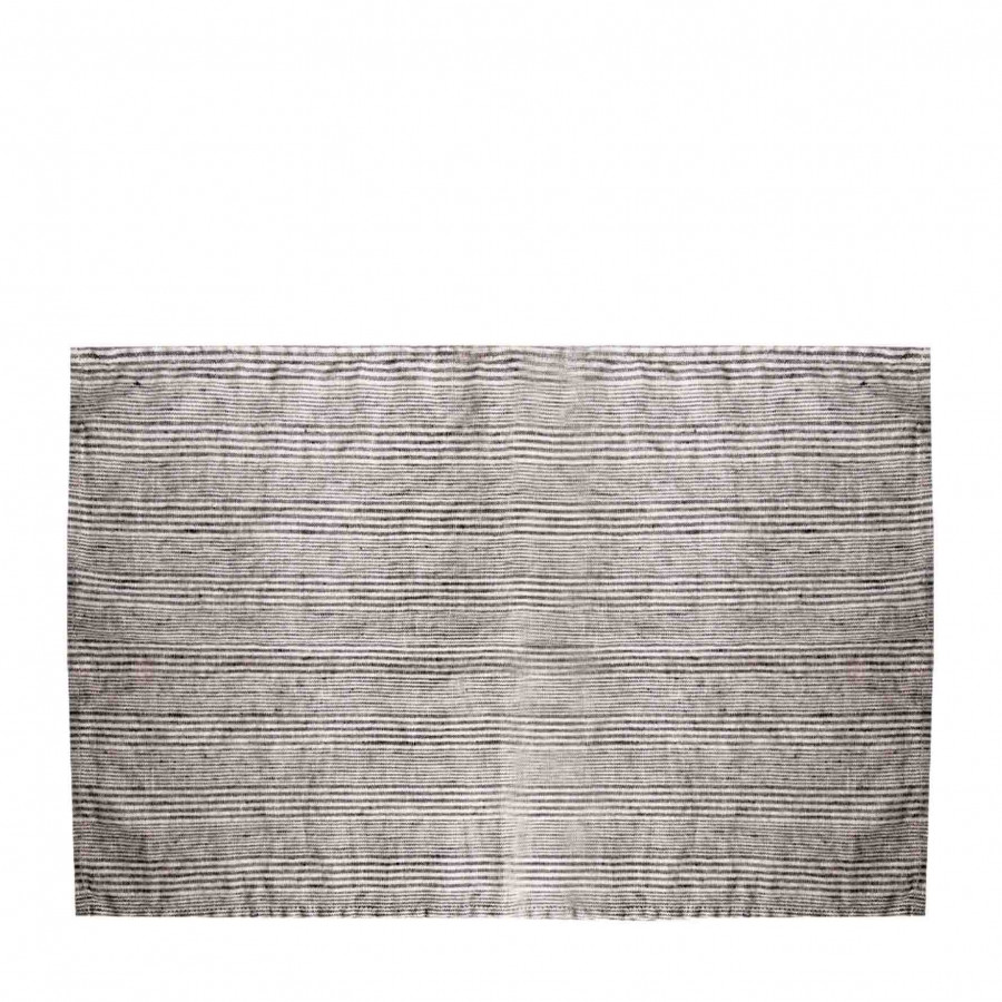 100% linen tablemat with thin black lines 35x50 cm