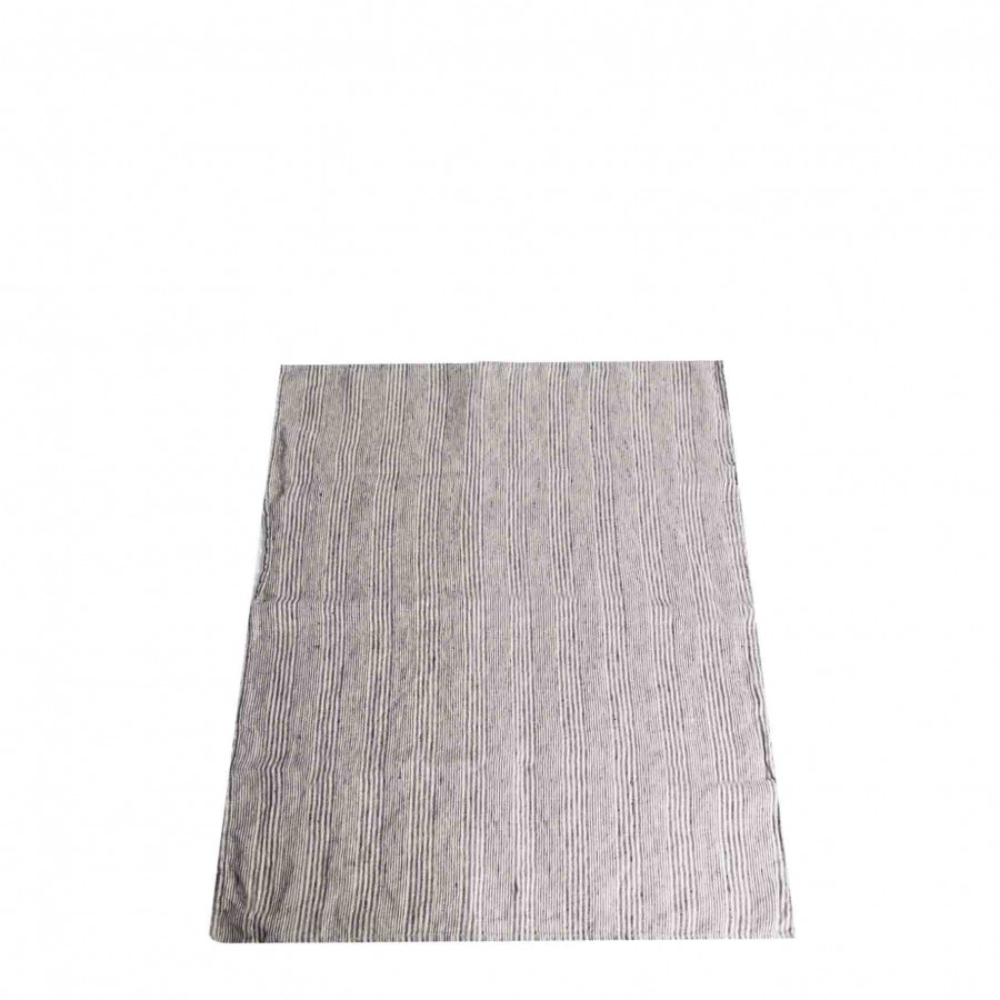 100% linen rug with thin black lines 50x70 cm