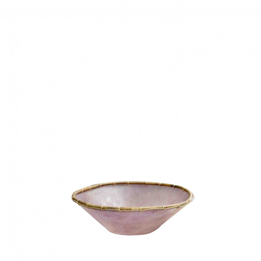 Ciotola resina viola bordo legno d30 h9 cm