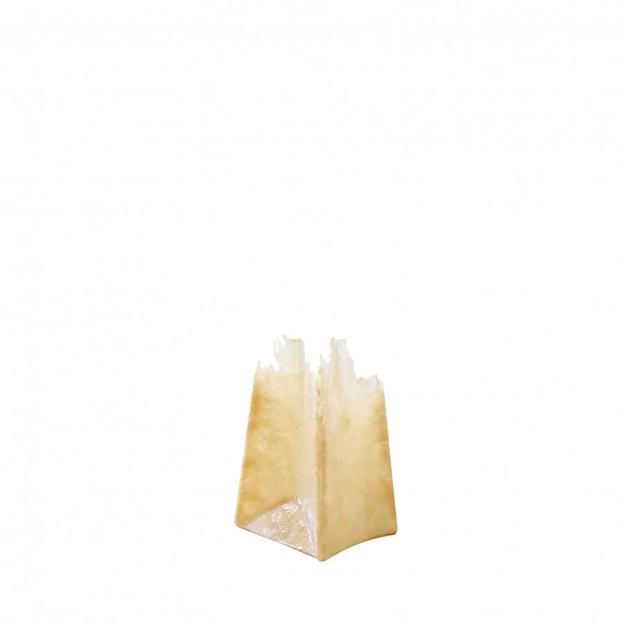 Fringed resin beige vase 12 x 15 h22 cm