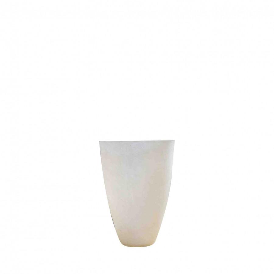 Cream resin vase d17 h23 cm