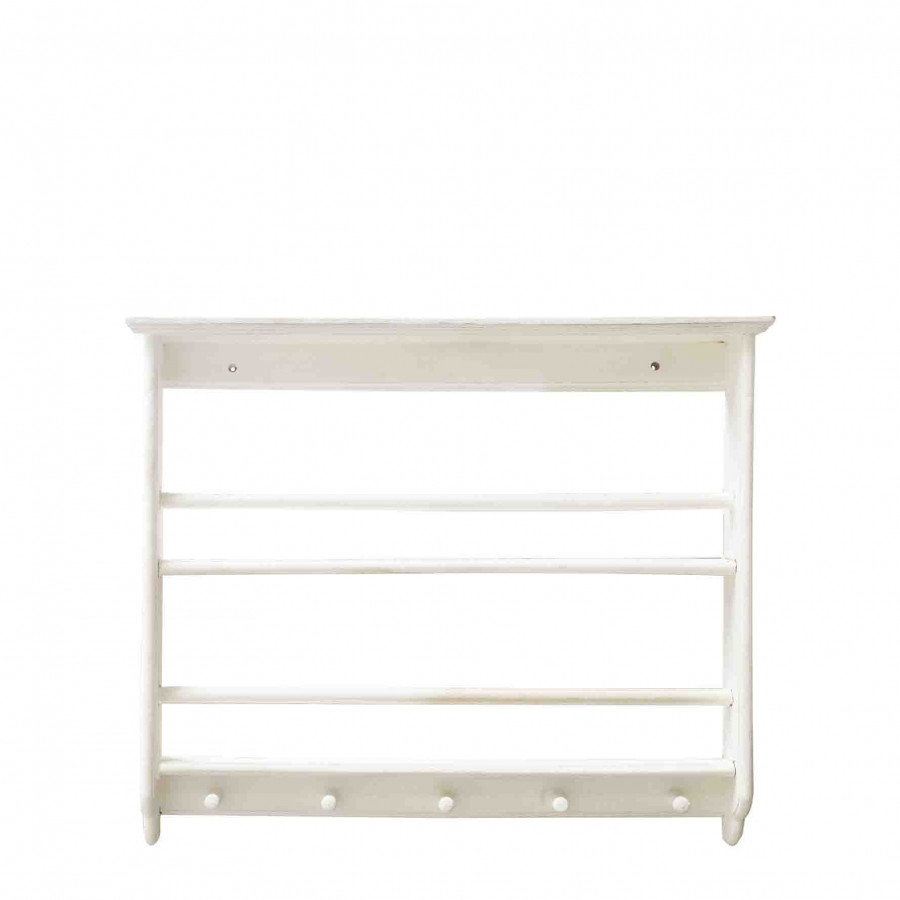White wooden structure with shelves and hangers 72x87 h12 cm
