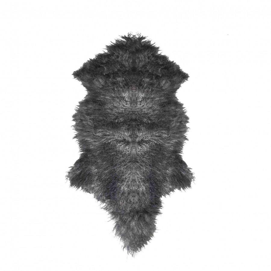 Tappeto in pelliccia della mongolia nera/grigia 50 x 90 cm