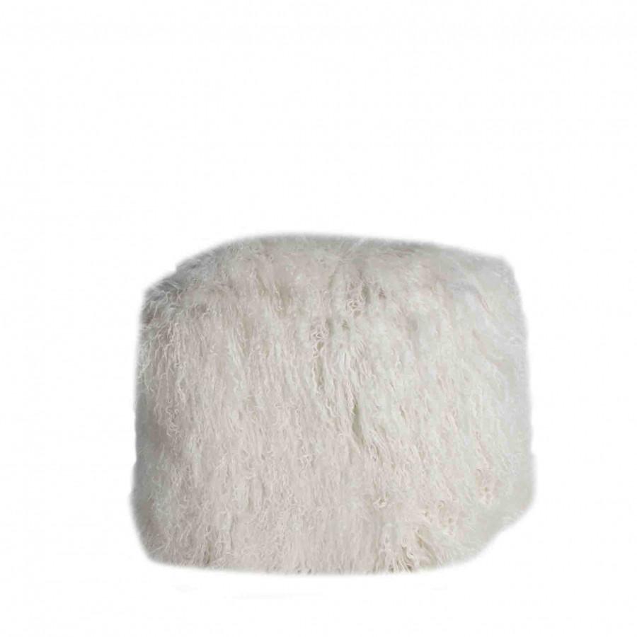Cube en fourrure de mongolie blanche 40x40 h40cm
