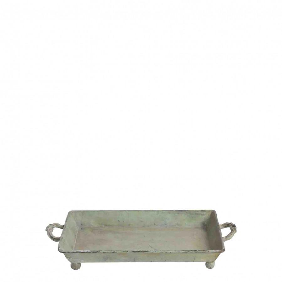 Vassoio metallo verde con due manici 20 x 30 cm