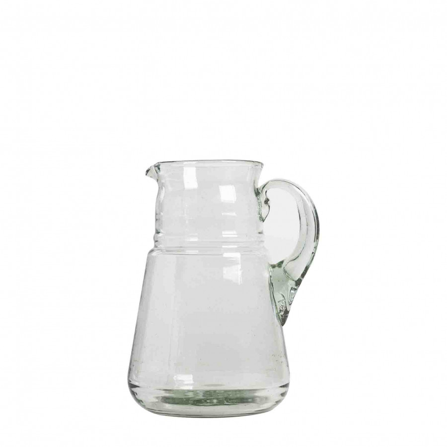 Brocca in vetro soffiato verde h20 cm