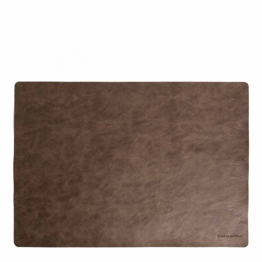 Brown vintage fake leather tablemat 32 x 45 cm