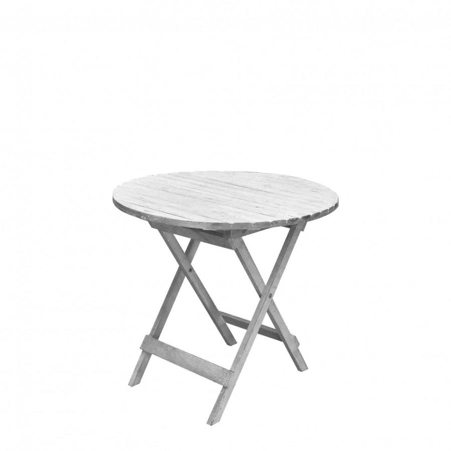 Tavolo in legno con listarelle d84 h73 cm