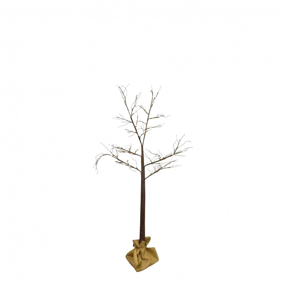 48 led light brown tree with jute sack and plug suitable for outdoor use h120 cm