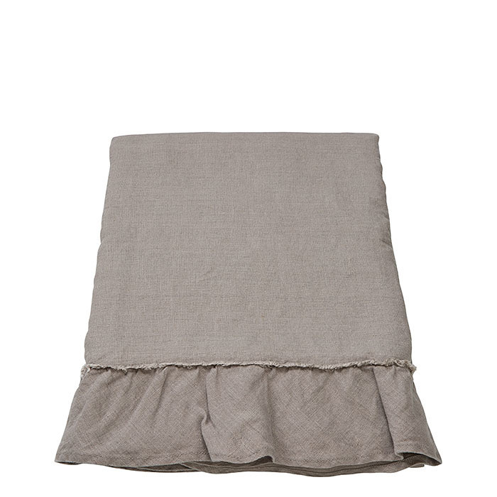100% linen tablecloth natural with fringes 176 x 304 cm