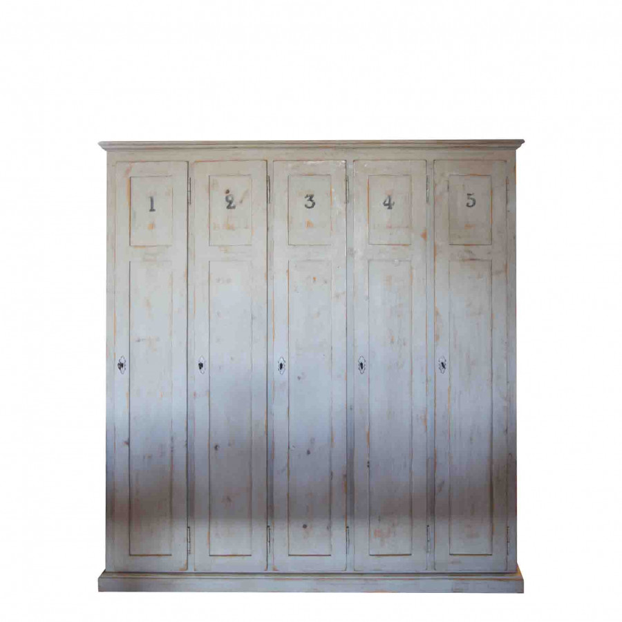 Vintage furniture with 5 numbered doors grey colour
