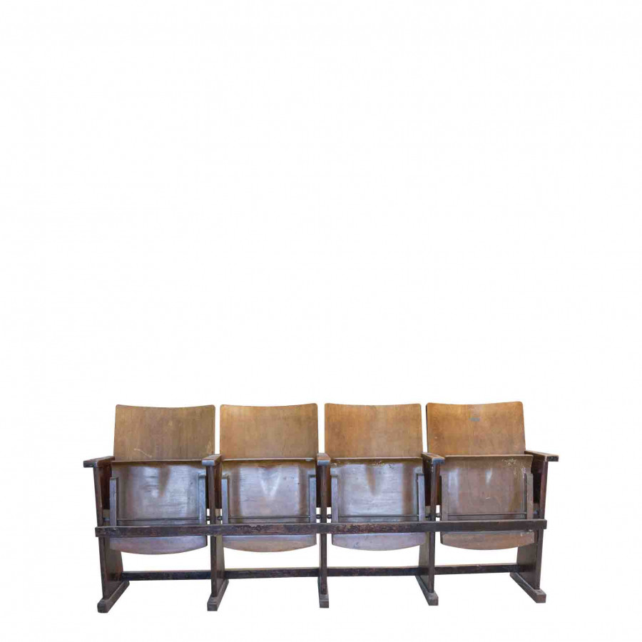 4 brown wooden cinema chairs 58 x 200 h88 cm