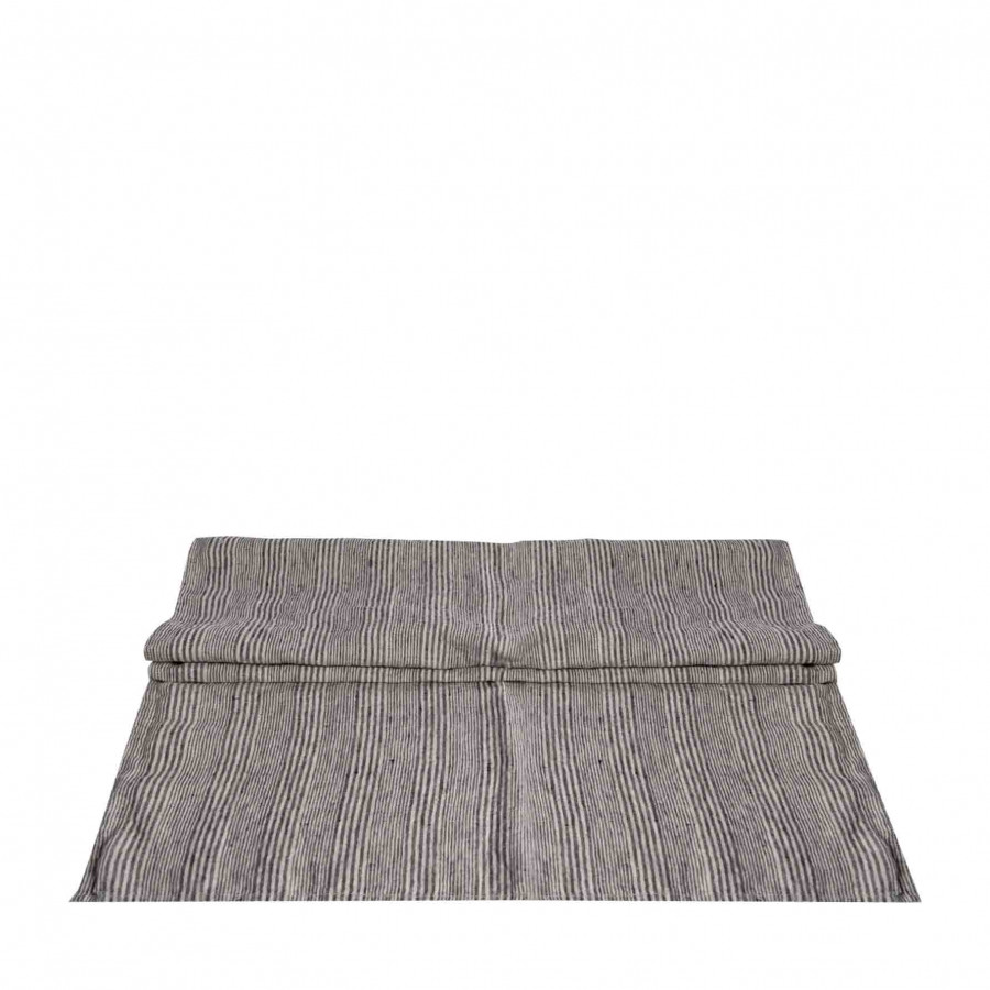 100% linen runner with thin black lines 50x120 cm