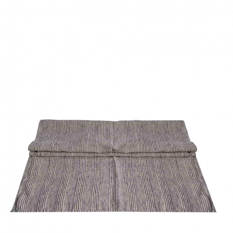 Chemin de table en 100% lin avec lignes noires 50x160 cm
