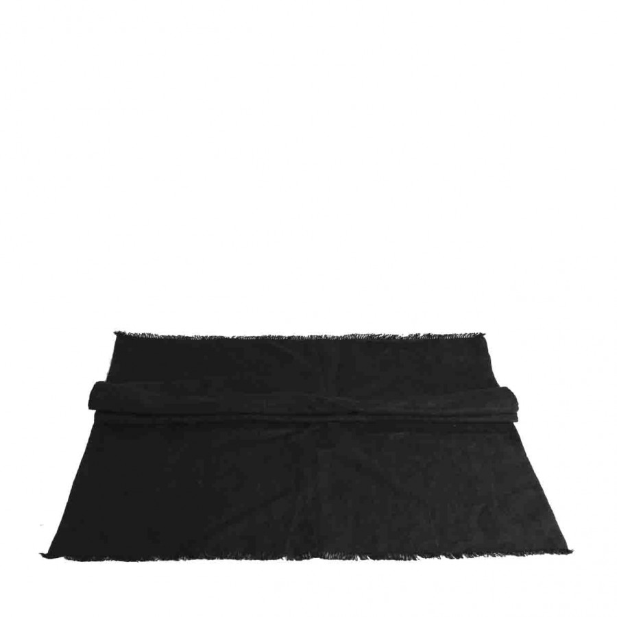 100% black linen runner with fringes 50x120 cm