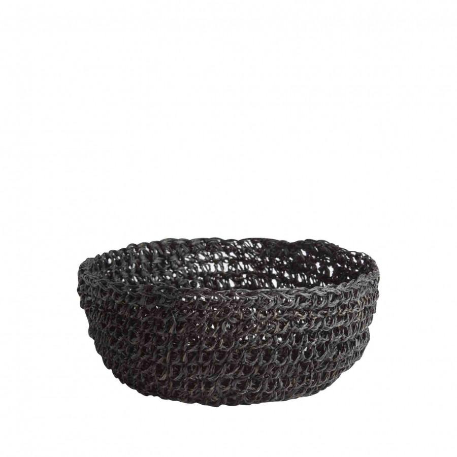 Black abaca crochet bowl d18 h7 cm