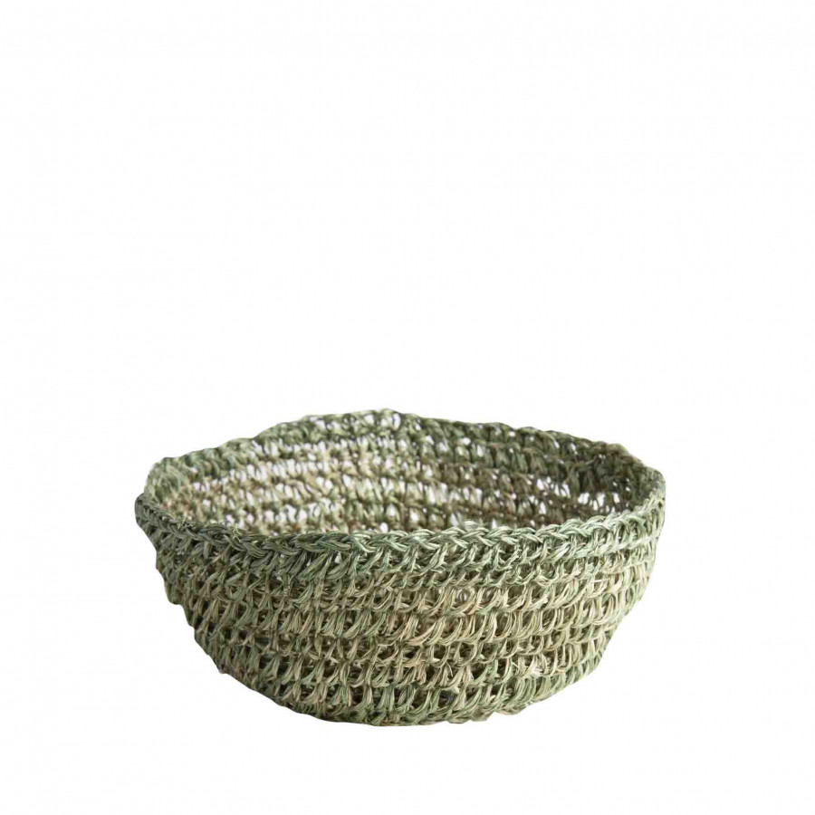 Green abaca crochet bowl d18 h7 cm