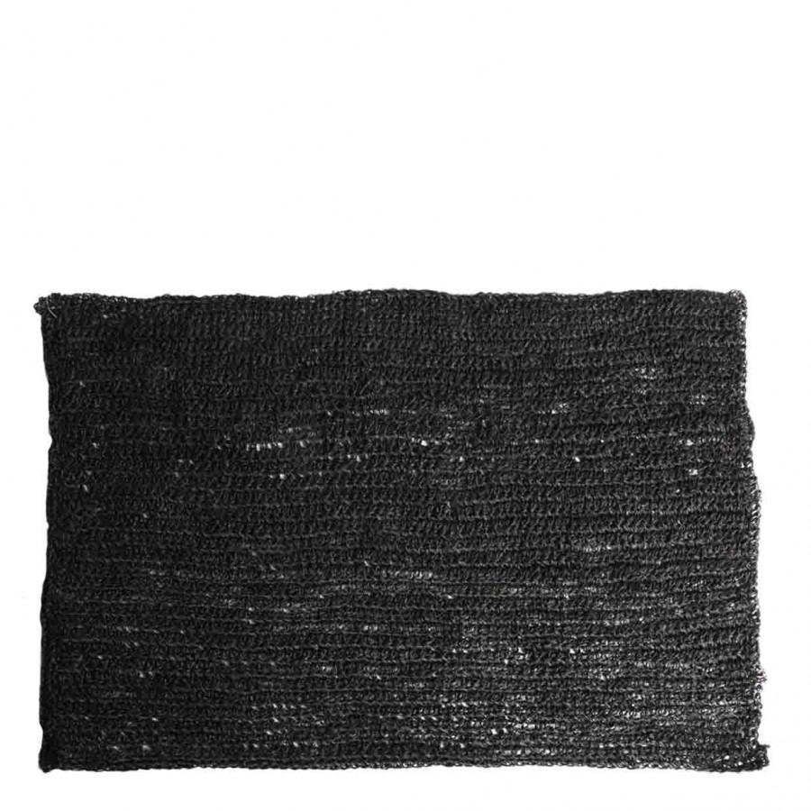 Black abaca crochet placemat 35x50 cm