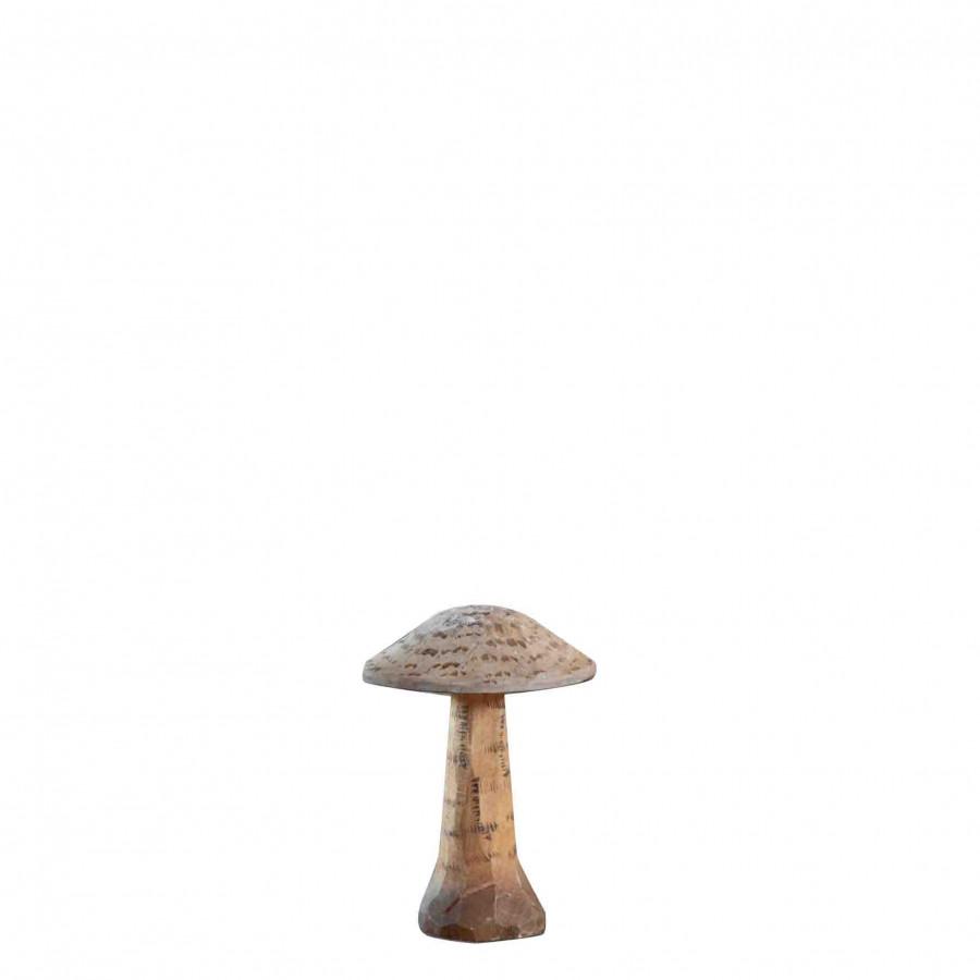 Fungo portabiglietti in legno intagliato a mano h8 cm