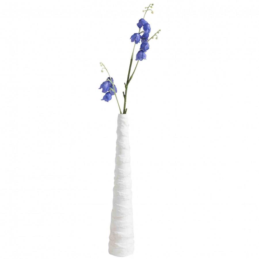 Vaso gesso cono monofiore fasce irregolari bianco h27 cm