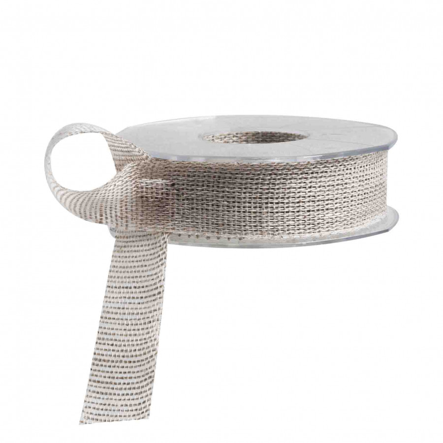 Linen ribbon with light grey pattern 15m x 3 cm