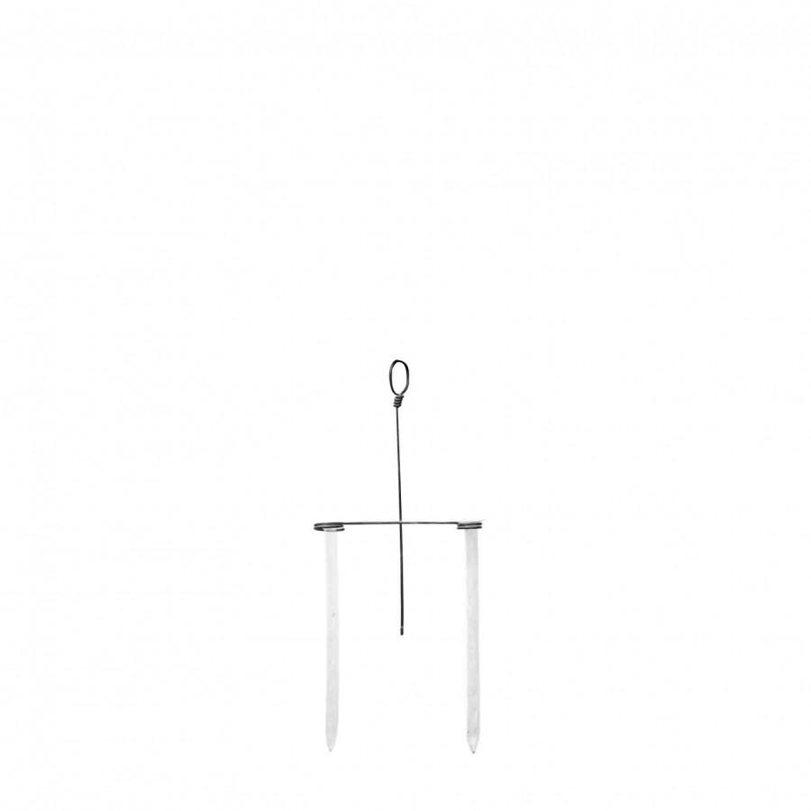Struttura in ferro nero due fiale 23 cm